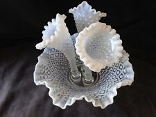 FENTON Large Triple Horn Epergne Milk Glass & Clear Bowl - Very Decorative
