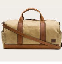 NWT Frye Carter Duffel Waxed Military Canvas Overnight Bag Duffle $428 Tan