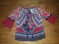 NWT Women's Red BILA Bohemian Hippie Crinkle Bell Sleeve Tassel Blouse Size S