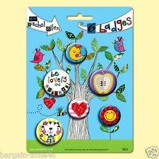 6 x Rachel Ellen Badges Kids Bags Clothes Colourful Stationery Pin Clip Be Lovel