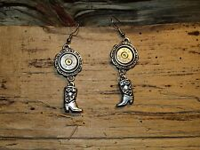 Dangle Silver 45 Auto Bullet Earrings with Boot Charm (nickel 45) (E522)
