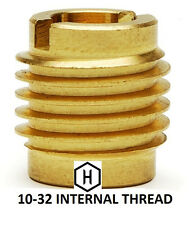 E-Z Lok P/N 400-332, 10-32 Threaded Brass Insert For Wood (10 Pieces)
