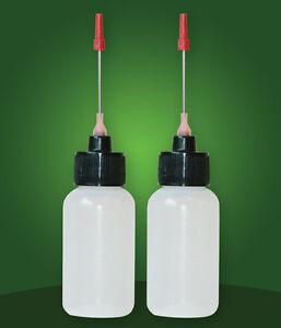 LDPE Plastic Two 1 OZ bottles with needle tip dispenser, pharmaceutical grade