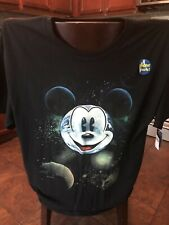 Disney Mickey Mouse Glow in the Dark T Shirt Black Tee PLANET Design On Front XL