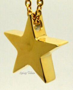 Star Cremation Urn Ashes Necklace Keepsake Pendant 24k Gold Plated Cremains