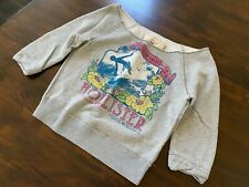 Hollister Off-Shoulder Oversized 3/4 Sleeve Grey Floral Top Sweatshirt Sweater L