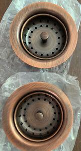 "2 Antique Copper Kitchen Sink Drain Removable Post Style Basket Strainer 3.5"""