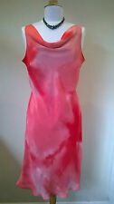 "Next casual pink mix fully lined calf length neck dress 46"" long UK16/44"