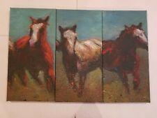 """3 Giclée Canvas Horse Pictures 20""""X1""""X10"""" EUC"""