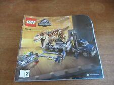 LEGO JURASSIC WORLD TRUCK #75933 INSTRUCTION MANUAL GOOD SHAPE COMPLETE YOUR SET
