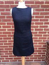 HOBBS Black Grey Houndstooth Wool Smart Work Office Shift Dress Sz 8 b146