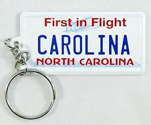 "North Carolina License Plate Aluminum Ultra-Slim Souvenir Keychain 2.5""x1.25"""