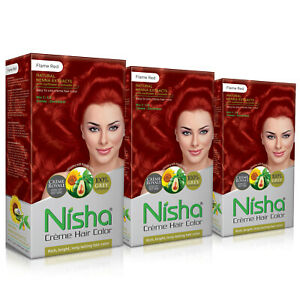 Nisha Cream Rich Bright Long Lasting Hair Color FLAME RED (Pack of 3)