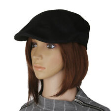 Men Women Herringbone Flat Cap Peaked Racing Hat Beret Golf Newsboy In Black