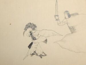 Vintage pencil painting surrealist nude portrait