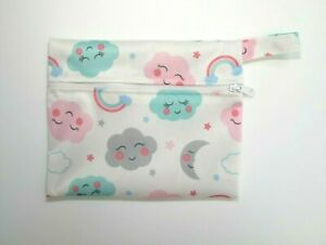 Small Wet Bag for Reusable Breast Pads, Wipes, Cloth Pads - Clouds