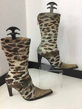 Karen Millen Ladies High Heel Boots, Pony Hair, Uk 5 Eu38, Python, Cowboy, Vgc
