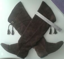 Deena & Ozzy Brown Real Suede Over the Knee Flat Boots Sz 9