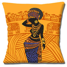 "African Tribal Lady 16""x16"" 40cm Cushion Cover Ethnic Jewellery Elephants Orange"