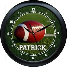 """Football Wall Clock 10"""" Personalized Gift Boys Room Teacher Gift Booster Club"""