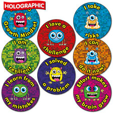 150 X Holographic Growth Mindset Primary School Reward Award Stickers 25MM Kids