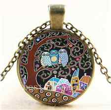 Vintage Owl Tree Of Life Cabochon Glass Bronze Chain Pendant Necklace