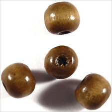 Lot de 50 perles rondes en Bois 10mm Marron Clair