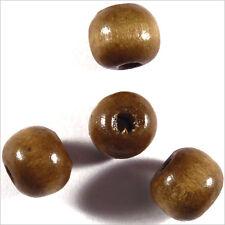 Lot de 50 perles rondes en Bois 10mm Marron Clair