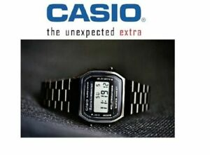 New CASIO Retro Classic Unisex Digital Steel Bracelet Watch- A168-1YES BLACK