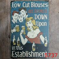 Metal Tin Sign low cut blouses looked down upon Bar Pub Retro Poster Cafe ART
