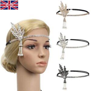 Women 1920s Vintage Bridal Headpiece Costume Crystal Headband Hair Accessories