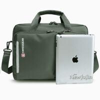 "Swiss Gear Men Women Briefcase 14"" Laptop Bag Messenger Shoulder Day Bag Black"