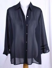 Sheer See Through Button Front Black Blouse 14W 3/4 Length Embellished Sleeve