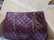 MICHAEL KORS 100% Genuine SUSANNAH Purple Shoulder Bag Quilted Lamb Leather