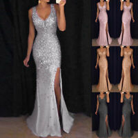 2019 Women Sequin Prom Party Ball Gown Gold Evening Bridesmaid V Neck Long Dress