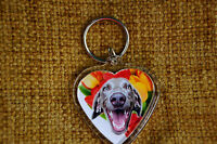 Weimaraner Gift Keyring Dog Key Ring heart shaped gift Xmas Mothers Day Gift