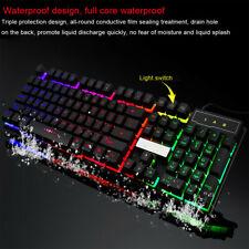 PC Rainbow Gaming Keyboard Colorful LED Crack Illuminated Backlit USB Wired USA