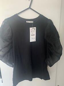 Zara BNWT Contrast Sleeve Top Size S
