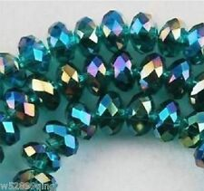 196pc 4x6mm Faceted Rondelle Crystal Glass Loose Spacer Beads Peacock Green AB