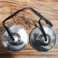 Handmade Tibetan Tingsha Bells Cymbals 6.5cm Plain Nepal White Bronze Buddhist