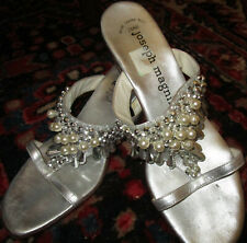 Vintage Amalfi beaded sandals silver leather with gorgeous beading, Italy 7.5M