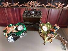 Crystal Enamel Bejeweled Vanity Dragonfly Frog Clock Pearl Trinket Jewelry Box