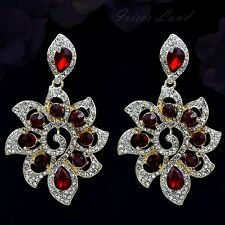18K Gold Plated Red Crystal Rhinestone Drop Dangle Chandelier Earrings 00212 New