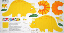 Dinosaur Fabric - Triceratops Dino Pillow Project Triton Benartex #2251 - PANEL