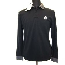 L-2879964 New Moncler Black With Gray Long Sleeve Slim Fit Polo Shirt Size-M