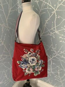 Cath Kidston Rare Large Red Velvet Bag Long Strap New