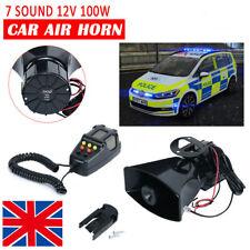 100W 12V 7 Sound Loud Car Alarm Police Fire Horn Siren PA Speaker MIC System
