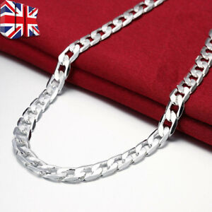 """Fashion Men 925 sterling Thick Silver 8MM solid Curb Chain Necklace 20"""" inch UK"""
