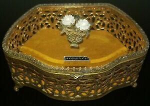 VTG MID-CENTURY BEVELED GLASS 24K GOLD PLATED FILIGREE FLORAL JEWELRY BOX RARE!