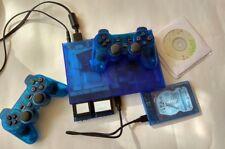 TRANSPARENT BLUE PS2 slim SCPH-79002 / 500 gb HDD / 7 emulators / 2 gamepad PAL